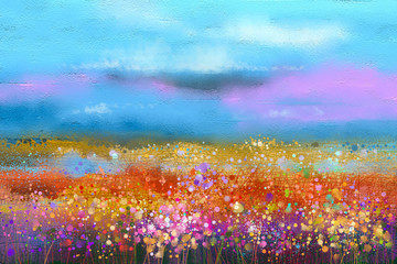Foto auf Leinwand Pool Abstract colorful oil painting landscape background. Semi abstract image of wildflower and field. Yellow and red wildflowers at meadow with blue sky. Spring, summer season nature background