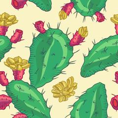 Cactus flower, seamless pattern.