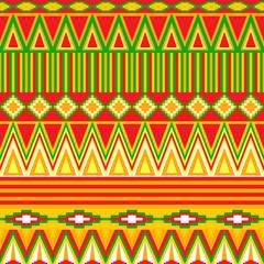Яркий абстрактный геометрический бесшовный узор в племенном стиле в тёплых тонах.