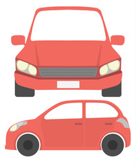 Isolated red car. Simple red isometric car on white background.