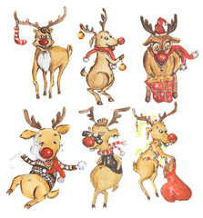 Watercolor reindeer set. Cute funny deer set for new year and christmas decoration. Isolated cartoon character.