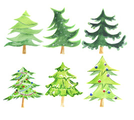 Watercolor christmas tree set. Cute green tree set for new year and christmas decoration.