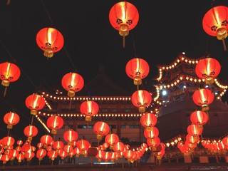 Chinese temple with lanterns