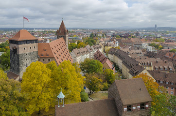 Historic town of Nuremberg skyline, Bavaria, Germany