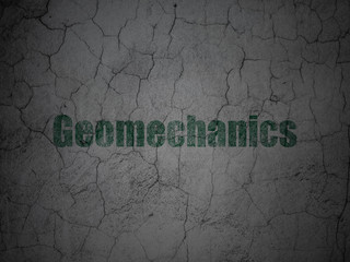 Science concept: Geomechanics on grunge wall background