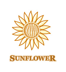 sign sunflower flower yellow and logo