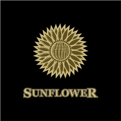 The sign of the sunflower on a black background
