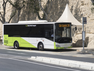 VALLETTA, MALTA - AUGUST 04 2016: Malta Public Transport Bus parked at Bay B4. New buses come with the latest Euro 6 diesel technology.