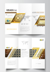 Tri-fold brochure business templates on both sides. Easy editable abstract layout in flat design. Islamic gold pattern, overlapping geometric shapes forming ornament. Vector golden texture.