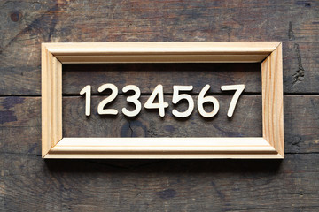 Wooden Digits In Frame
