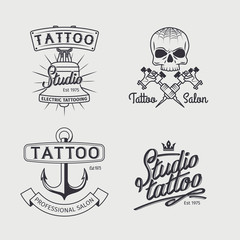 Tattoo studio logo templates. Vector retro tattooing art shop emblems with skull and anchor