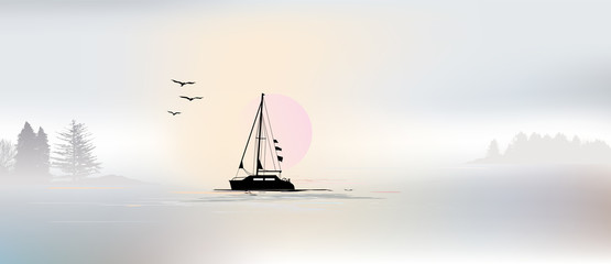 Background, sailing, fog on the lake, dawn
