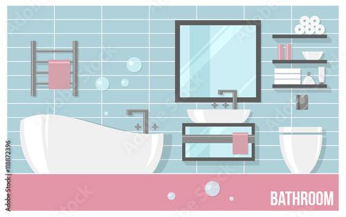 Fantastic Vector Bathroom Rain Shower On White Brick Tiles Vector