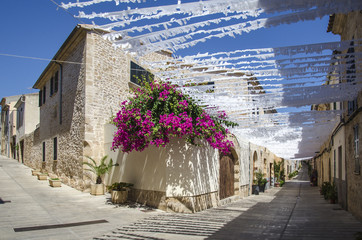 Street view in the village of Alcudia, Mallorca island, Spain