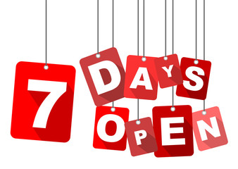 7 days open, red vector 7 days open, flat vector 7 days open, background 7 days open