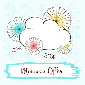 Monsoon offer season sale banner vector. Illustration with colorful cloud and umbrella with empty space text background.