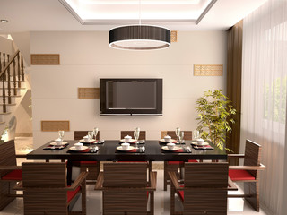 A luxurious dining room with table and chairs set for a meal. 3d