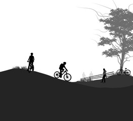 Outdoor activities vector silhouette people in the park landscape background