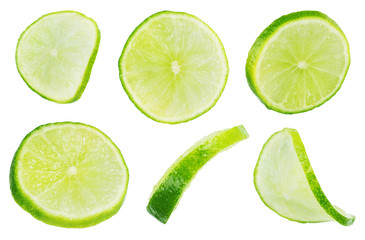 Slice section of green lime isolated over the white background,