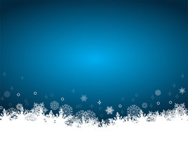 Christmas background with white snowflakes, vector illustrtation