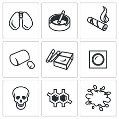 Vector Set of Smoking and Cancer Icons. Lungs, Ashtray, Cigar, Gum, Pack, Patch, Death, DNA, Blood.