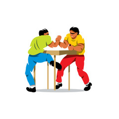 Vector Arm Wrestling Cartoon Illustration.