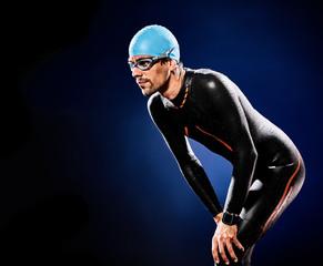 man swimmer swimming  triathlon ironman isolated