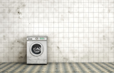 Dirty washing machine in the empty dirty room in grunge style. T