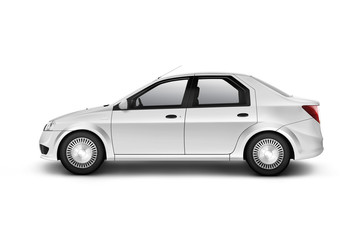 Blank white car design mockup, isolated, side view, clipping path, 3d illustration. Clear auto body mock up profile. Plain vechicle branding template. Sedan motor car presentation. Simple city machine