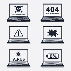 Error signs on laptop screens. Vector icons.