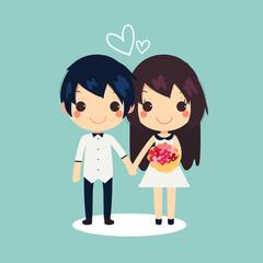 cute couple flowers  heart vector illustration