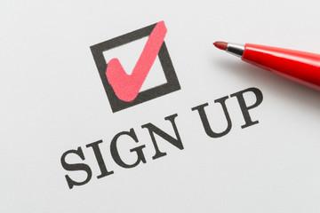SIGN UP サインする