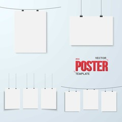 Vector Poster Mockup Set. Realistic EPS10 Vector Paper Poster Se