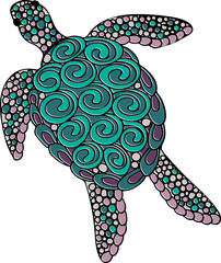 Hand drawn doodle vector ornate turtle illustration