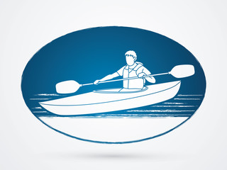 A man kayaking on circle background graphic vector.