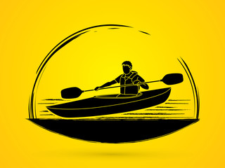 A man kayaking graphic vector.