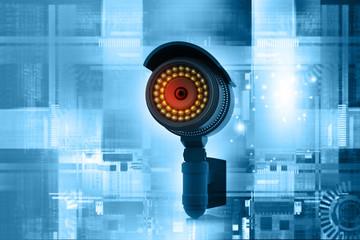 3d render of Surveillance camera. technology background.