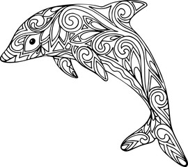 Hand drawn doodle dolphin illustration for coloring book