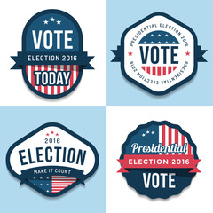 Set of badges, banner, labels, emblem design for united state election 2016. Politic Vote. Design elements. Vector illustration.