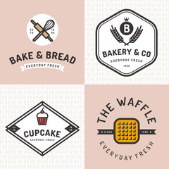 Set of badges, banner, labels, logos, icons, objects and elements for bakery shop with seamless pattern. Vector illustration.