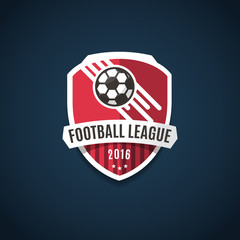 Football league logo, labels, emblems and design elements for sport team 2016. Vector illustration.