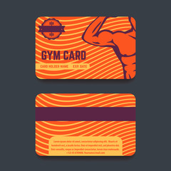 fitness club, gym card template design with strong athlete, vector illustration