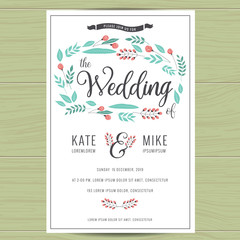 Save the date, wedding invitation card with hand drawn wreath flower template. Flower floral background. Vector illustration.