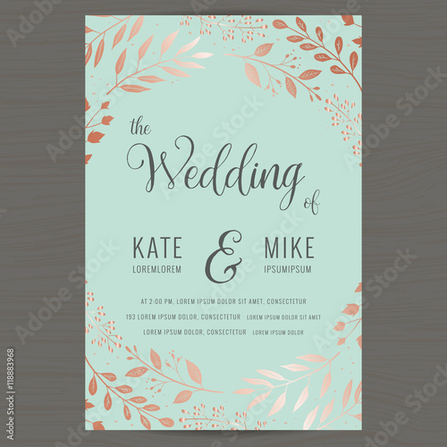 Save the date wedding invitation card template with copper color save the date wedding invitation card template with copper color flower floral background vector stopboris Gallery