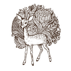 Abstact floral highly detailed hand drawn orchid flower and deer design element for greeting cards, posters and print or beautiful motif tattoo.