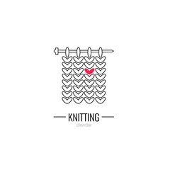 Knitting is love. Modern vector line icon of knitting. Knitting elements - yarn, knitting needle. Outline symbol for knitting shops, clubs. Knitting design element for sites. Knitting business logo.