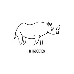 African rhino isolated. Abstract rhino. Isolated rhino. Rhino on white. Rhino side view. Rhino vector icon. Rhinoceros outline illustration. African animal out line sign.