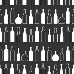 Wine bottles outline pattern. Bottles silhouette. Different kinds of wine. Design elements for banners, wine markets, alcohol advertising, bars and vineyards. Wine seamless pattern