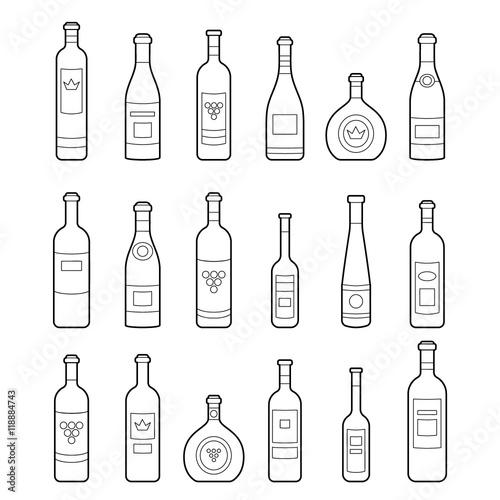set of wine bottles outline isolated wine bottles different kinds