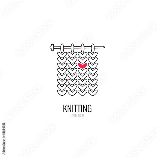 Knitting Logo Ideas : Quot knitting is love modern vector line icon of